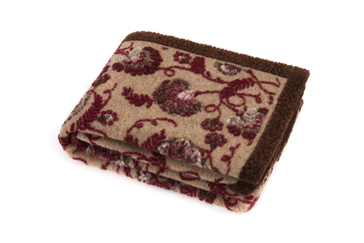COPERTA DECOR IN LANA COTTA 150X190 PAISLEY BORDEAUX